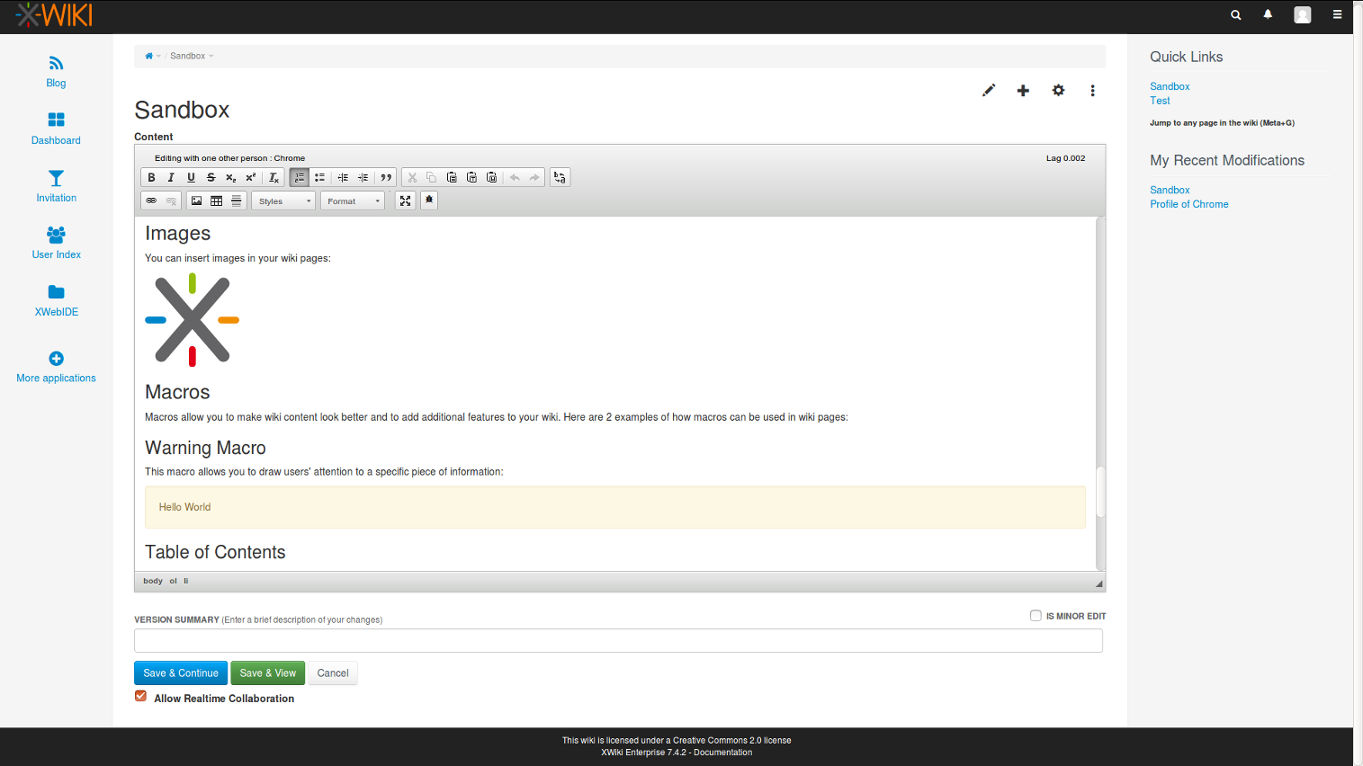 realtime editing in XWiki